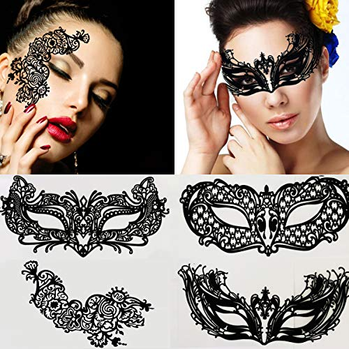 Leoars 4 Sets Black Hollow Face Lace Eye Masks Eco-friendly Carbon Fiber Face Lace Artistic Makeup Body Art for Women Girls Club Party Temporary -