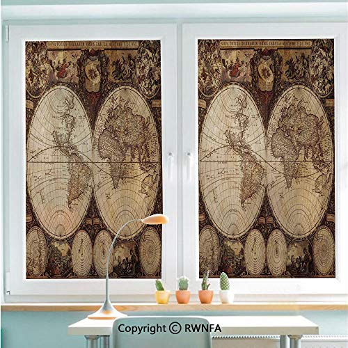 RWNFA Window Film Door Sticker Old World Map Made in 1720s Nostalgic Style Art Historical Atlas Vintage Decor Glass Film Both Suitable for Home and Office,22.8 x 35.4inch,Multi