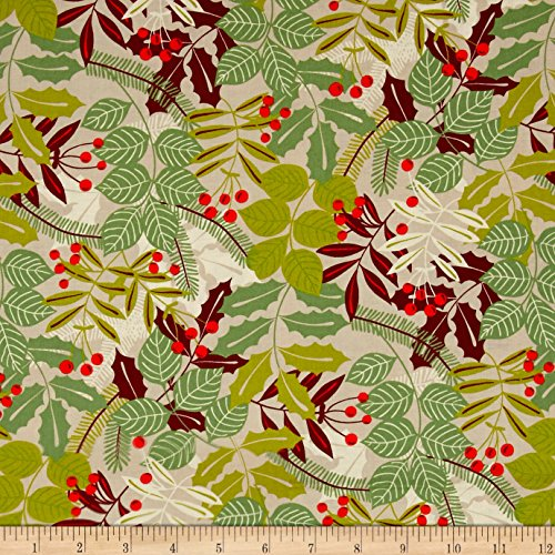 Alexander Henry Christmas Time Pine Berry Taupe Fabric By The Yard (Boughs Christmas Pine)