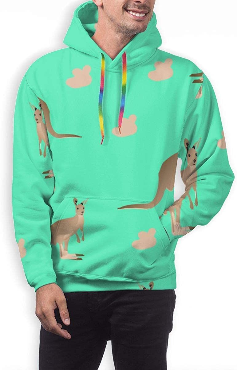 GUAHUAXIANG Casual Pullover Hoodie Hooded Sweatshirt for Mens Kangaroo in Green Pattern