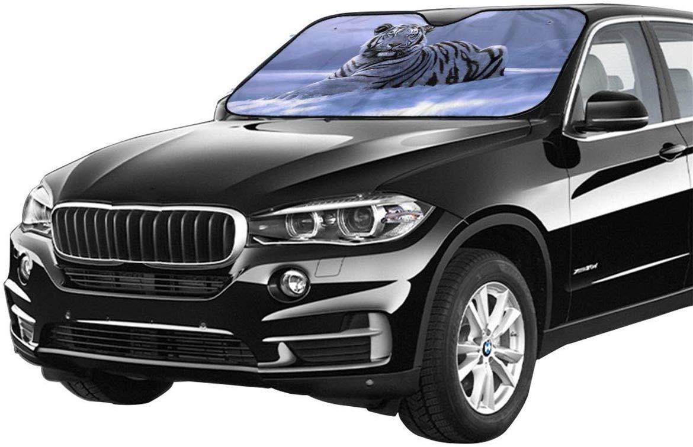 Kejbr Snow Tiger Car Windshield Sun Shade Window Windscreen Cover Universal Fit Car UV Ray Sun and Heat Visor Protection 51.2 X 27.5