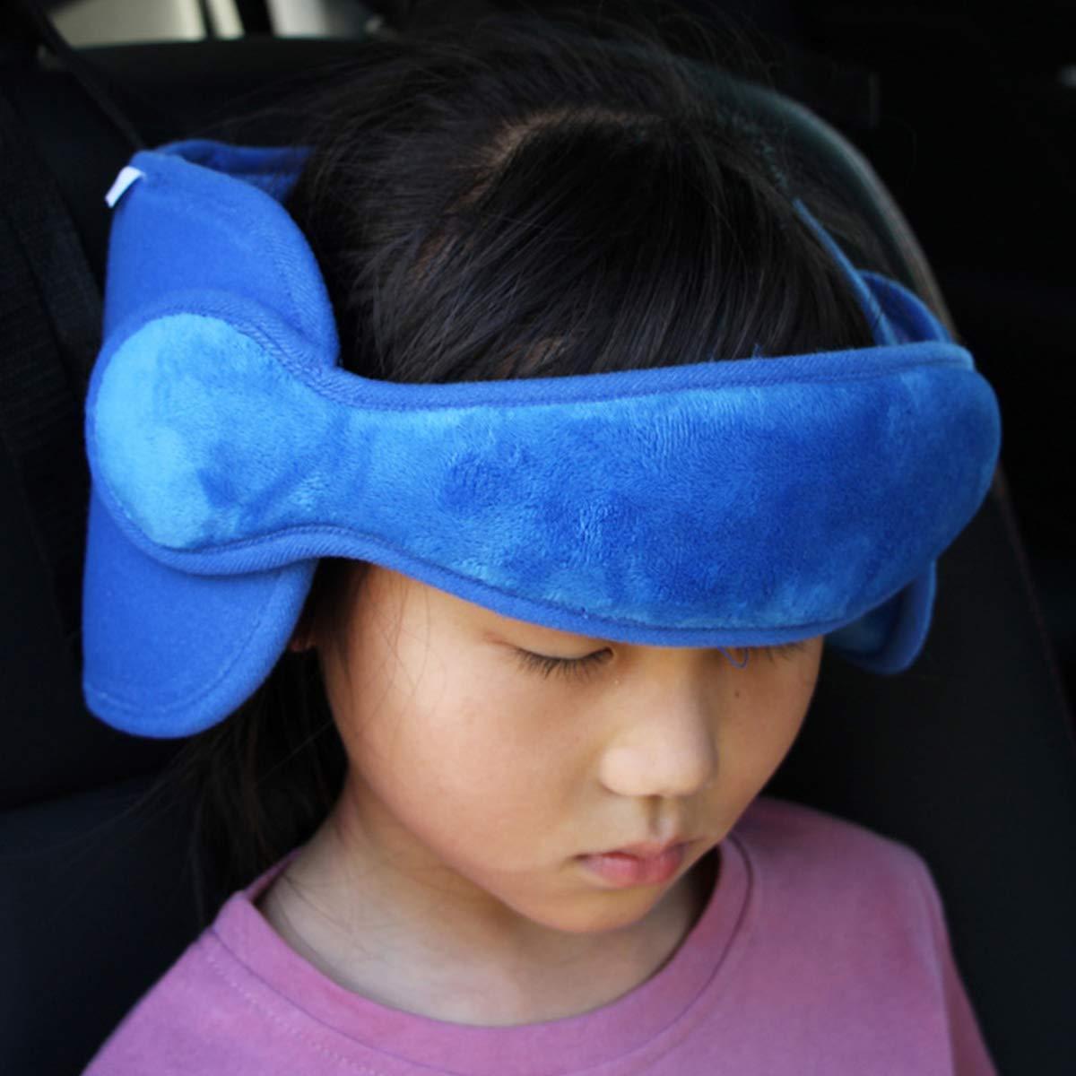 T/ête doreiller de s/écurit/é b/éb/é R/églable-Si/ège de S/écurit/é Pour Enfant Doux Confortable Porte-T/ête Fixation Ceinture bleu