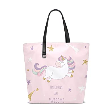 99a5b63473d3 Large Tote Bag Cartoon Unicorn The Starry Sky Bag for Women girl ...