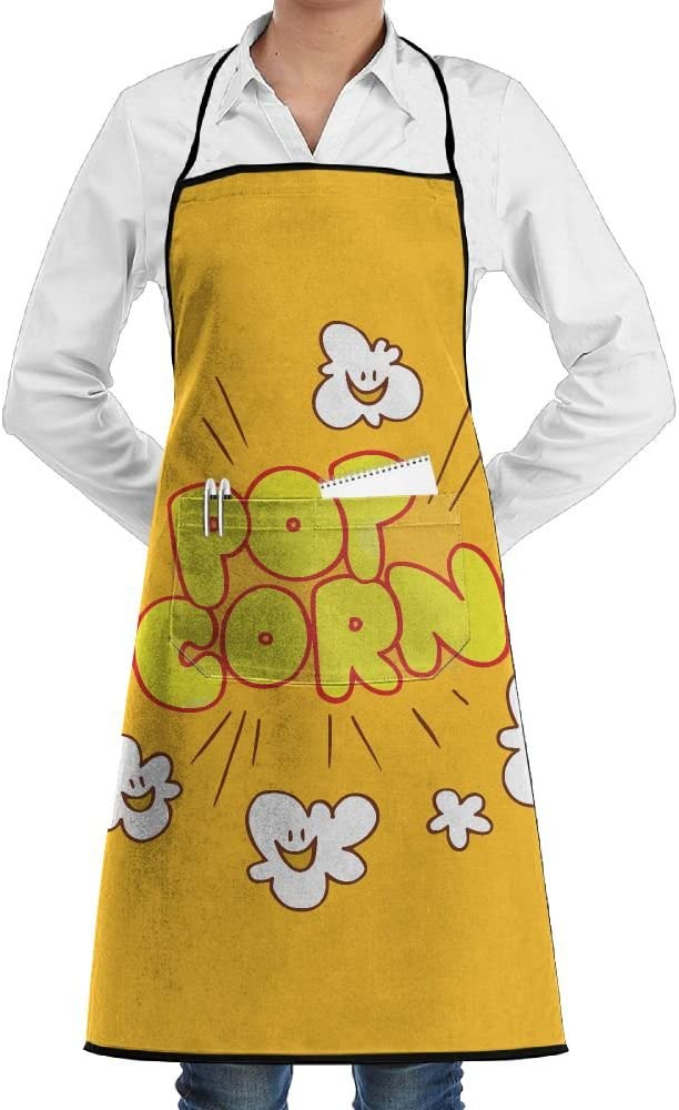 Cartoon Popcorn Smile Apron Lace Unisex Mens Womens Chef Adjustable Polyester Long Full Black Cooking Kitchen Aprons Bib With Pockets For Restaurant Baking Crafting Gardening BBQ Grill