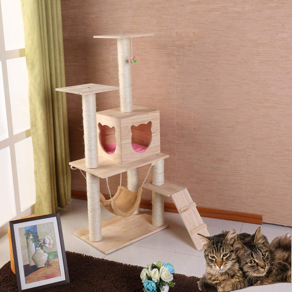 Deluxe Multi Cat Tower Cat Play Towers Solid Wood cat Litter cat Climbing cat Toy Pet Supplies Cat Climbing Shelf Solid Wood cat nest 60  40  135cm