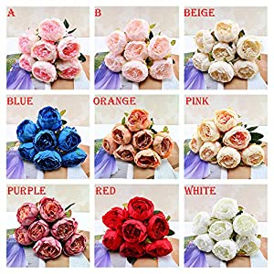 Rm.Baby 1Pcs 7 Heads Artificial Fake Flowers Vintage Peony Floral Real Touch Looking Silk Cloth Material for Party Wedding Decor, Garden Craft Art,Office Centerpiece Home Decor(Vase not Included) 97