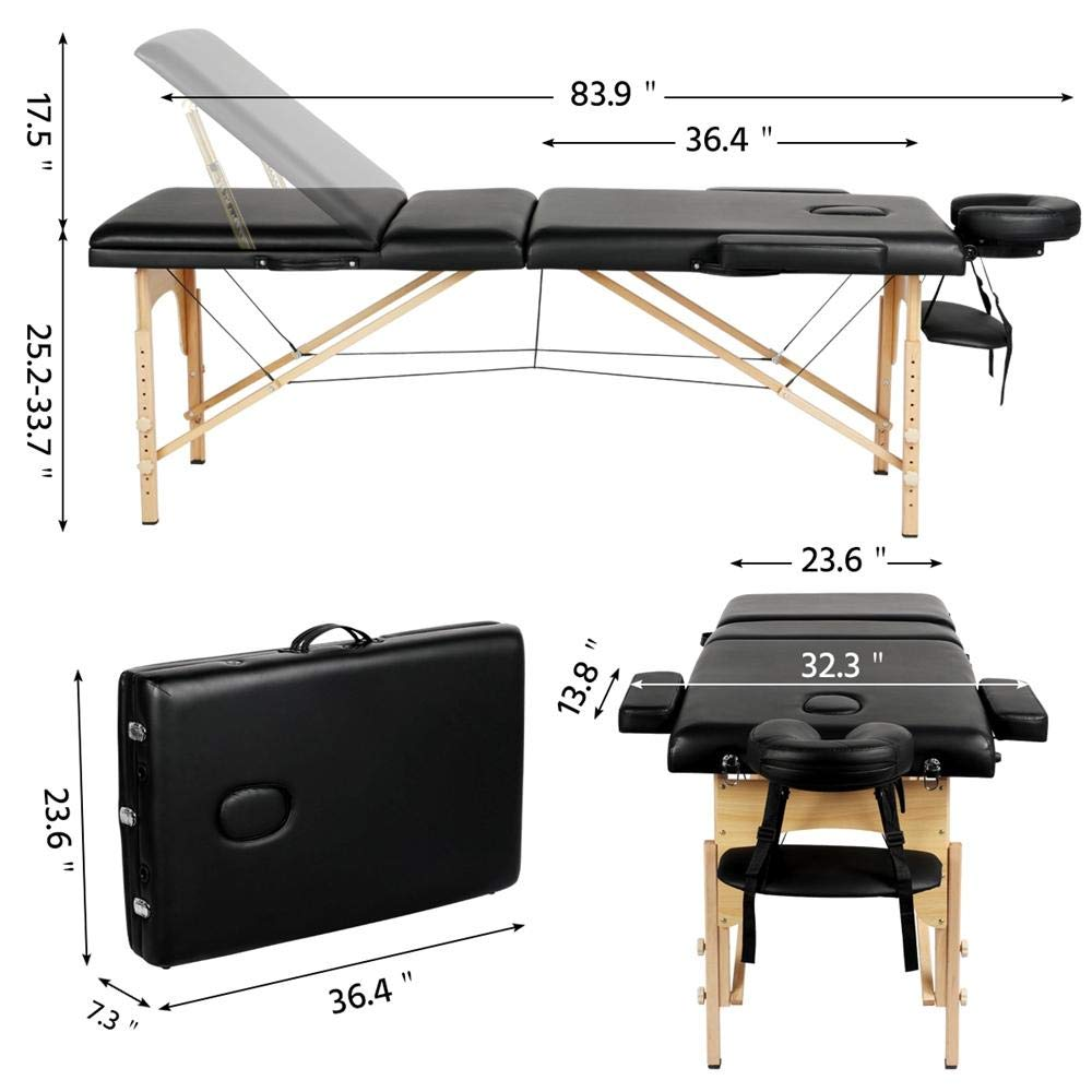 Yaheetech Massage Table Portable Massage Bed Massage Therapy Table Spa Bed 84 Inch Adjustable 3 Fold Salon Bed Face Cradle Bed Black: Beauty