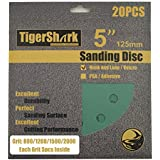 TigerShark 5 Inch Sanding Discs 8 Hole Wet Dry Grit 800/1200/1500/2000 20pcs Pack Special Anti Clog Coating Film Green Line Hook and Loop Velcro Dustless Random Orbital Sander Paper Super Fine