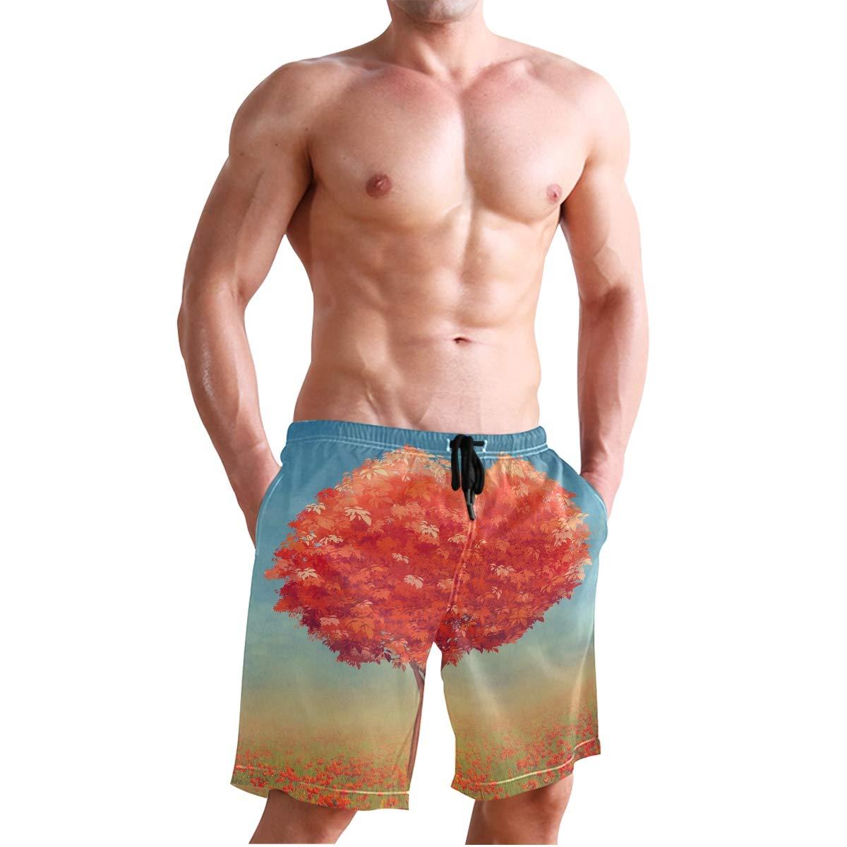 Tree of Hearts Mens Trunks Beach Board Shorts Drawstring Waist Mesh Lining
