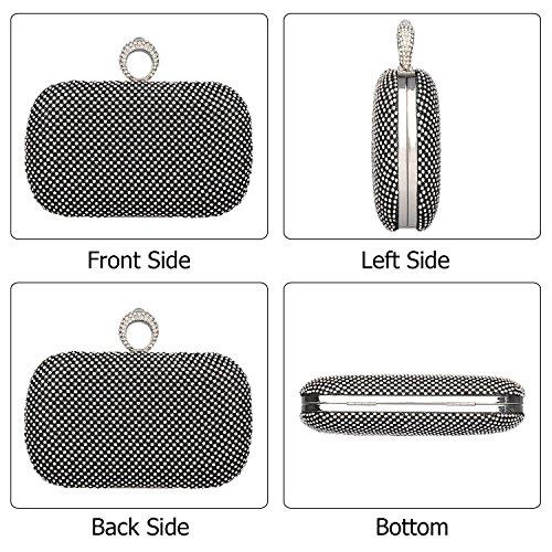 Rhinestones Square Shining Evening Black Purses Hard Women's Handbag Bags Crystal Shape Clutches Case Kaever qt5gEnR8w