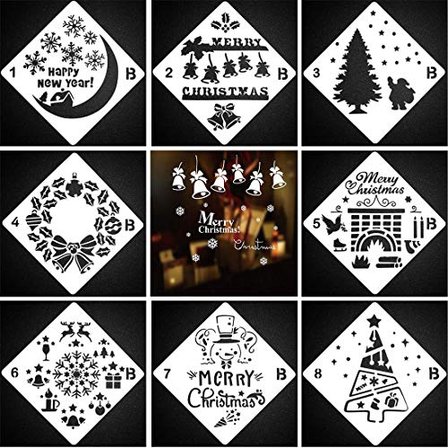 Christmas Stencils Xmas Stencil Template Set, Pack of 8 DIY Craft Cookie Stencils for Christmas Decoration,Merry Christmas,Christmas Tree,Santa Claus,Snowflakes,Reindeers and More Stencils