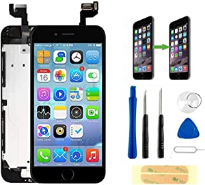 Master Screen for iPhone 6s Plus Screen Replacement Black Touch Display LCD Digitizer Full Assembly with Front Camera Proximity Sensor Ear Speaker Home Button and Repair Tool Kit (5.5 Inch)