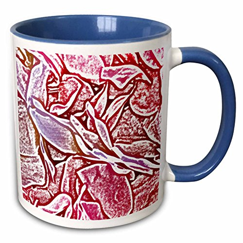 3dRose Susans Zoo Crew Flowers - lei sketch pink flowers - 15oz Two-Tone Blue Mug (mug_186612_11) (Lei Flower Tone Two)