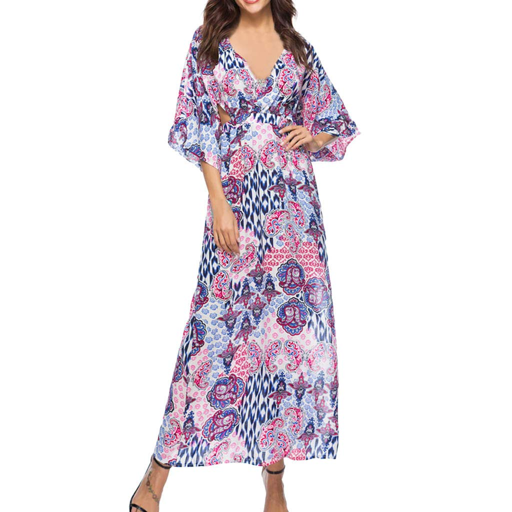 FORUU Dresses for Womens, Fashion V-Neck Printed Bohemian Three Quarter Sleeve Sexy Backless Summer Holiday Girlfriend Lover Wife Party Beach Prom Cocktail Evening Club Maxi Mini Midi Long Sundress