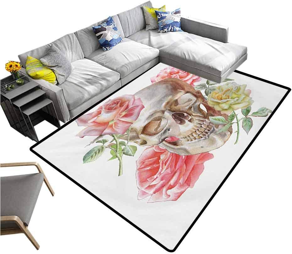 Rose Rug Pads Tender Blossoms with Hand Drawn Style Watercolor Skull Figure Mexican Festive Gothic for Dining Room Living Room Home Decoration Multicolor (6'x8')