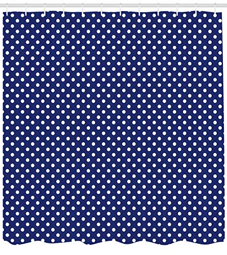 Ambesonne Retro Shower Curtain, Pattern with White Polka Dots on a Sailor Navy Dark Blue Background Vintage Tile, Fabric Bathroom Decor Set with Hooks, 75 Inches Long, White Navy Blue ()