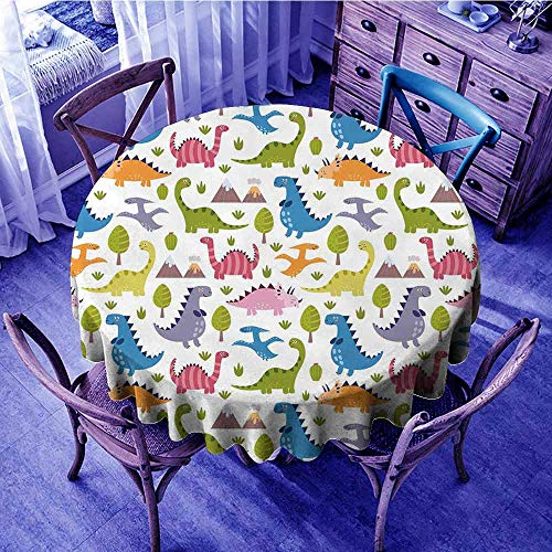 ScottDecor Kids Tassel Tablecloth Cartoon Style Colorful ()