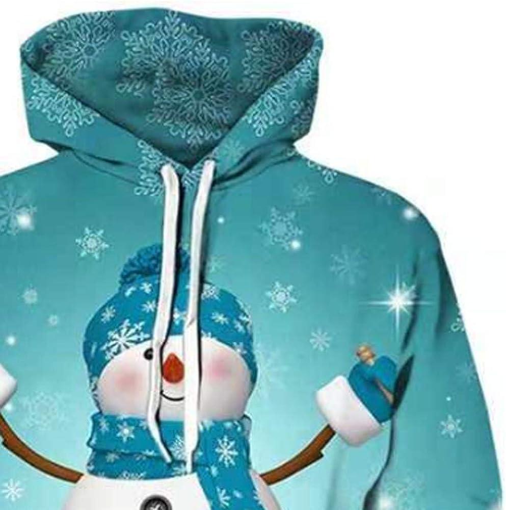 Mens Christmas 3D Printed Pullover Hoodies Long Sleeve Hooded Sweatshirt Tops Blouse