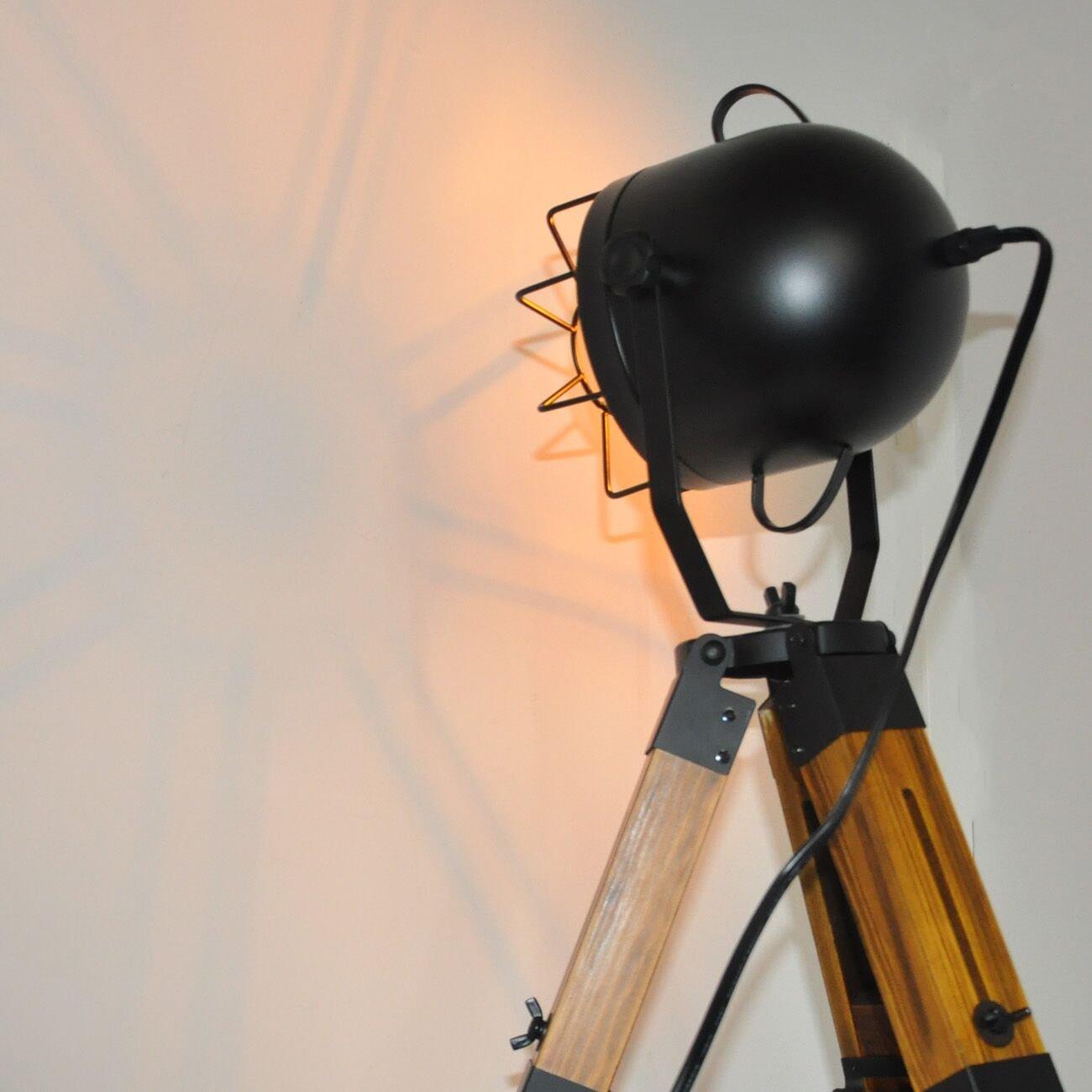 Decoluce Industrial Tripod Floor Table Lamp Vintage Wood Cinema Searchlight Standing Lighting Fixtures Nautical Spotlight Decorations-Not Include E26 Bulbs Cinema