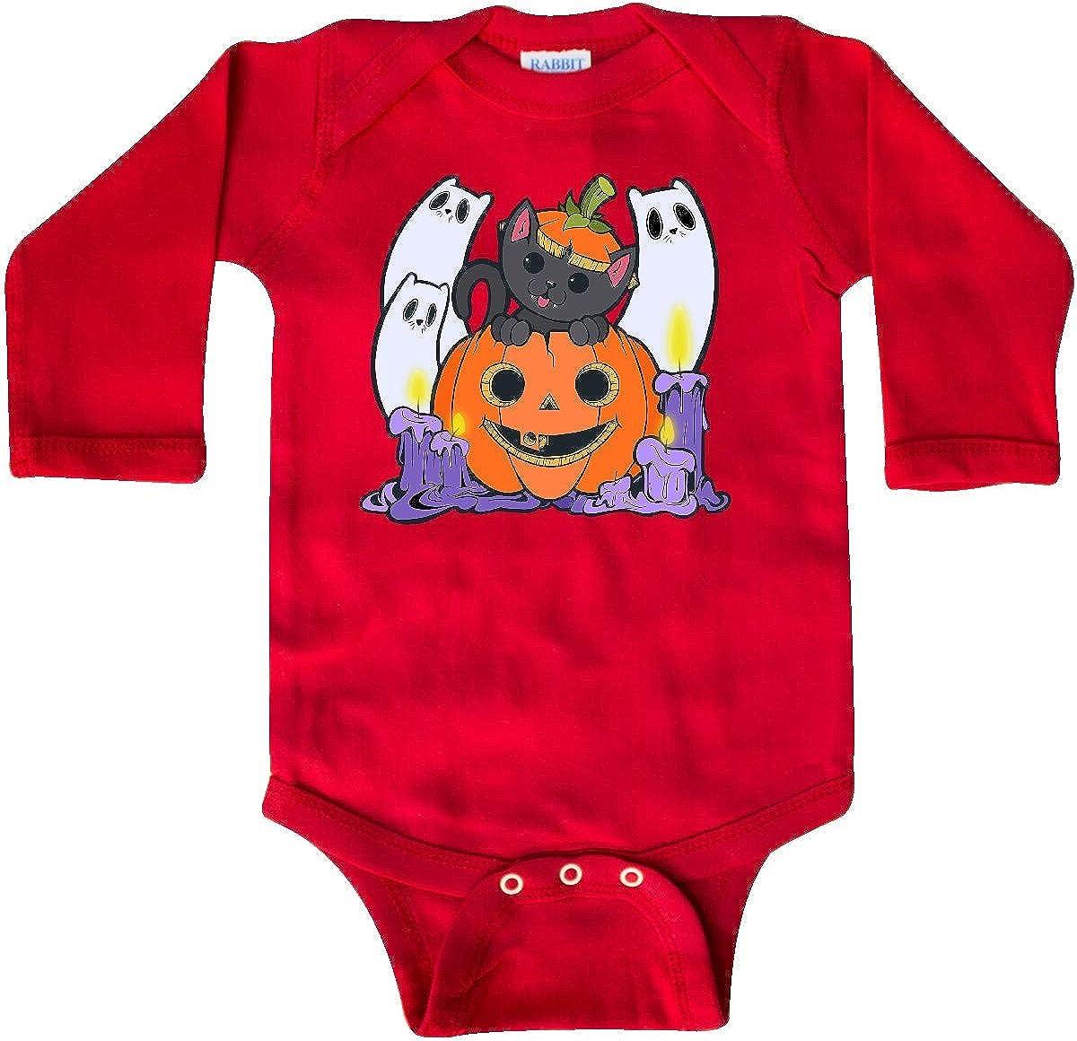 inktastic Happy Halloween Kitty Long Sleeve Creeper