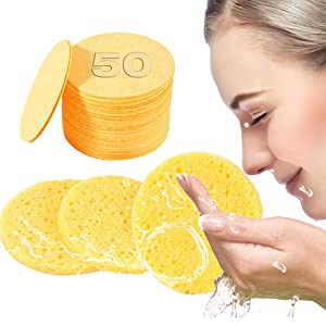 50-Count Compressed Facial Sponges- 100% Natural Cellulose Face Sponge Professional Cosmetic Spa Sponges for Face Cleansing, Massage, Pore Exfoliating, Mask, Makeup Removal (Yellow)