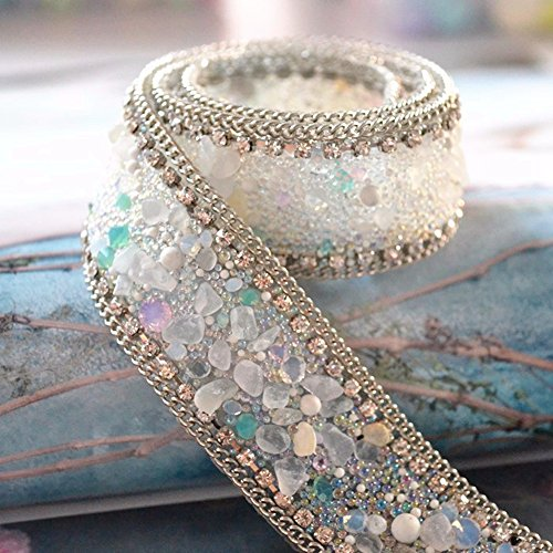 Best Price Atsknsk 50 cm Artificial Pearl Beaded Lace Trim Vintage Mesh Fabric Paillette Lace Ribbon...