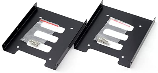 SSD HDD Holder 2.5 to 3.5 Mounting Bracket Hard Drive Adapter Black 2 Pack