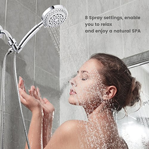Baban Handheld Shower Head High Pressure Luxury 8 Function Detachable Showerhead with Angle Adjustable Bracket & Stretchable Hose- Full Flow Massage Rain Waterfall for Your Shower Experience, Chrome by Baban (Image #1)