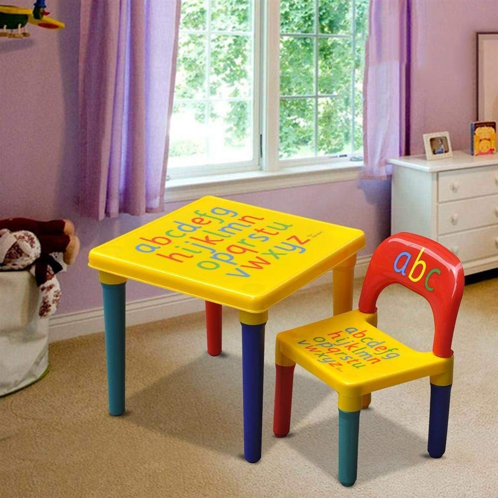 Little Champs Kids Learn & Play Table + Chair Set with Alphabates, Bright Colors, Ideal Educational Gift