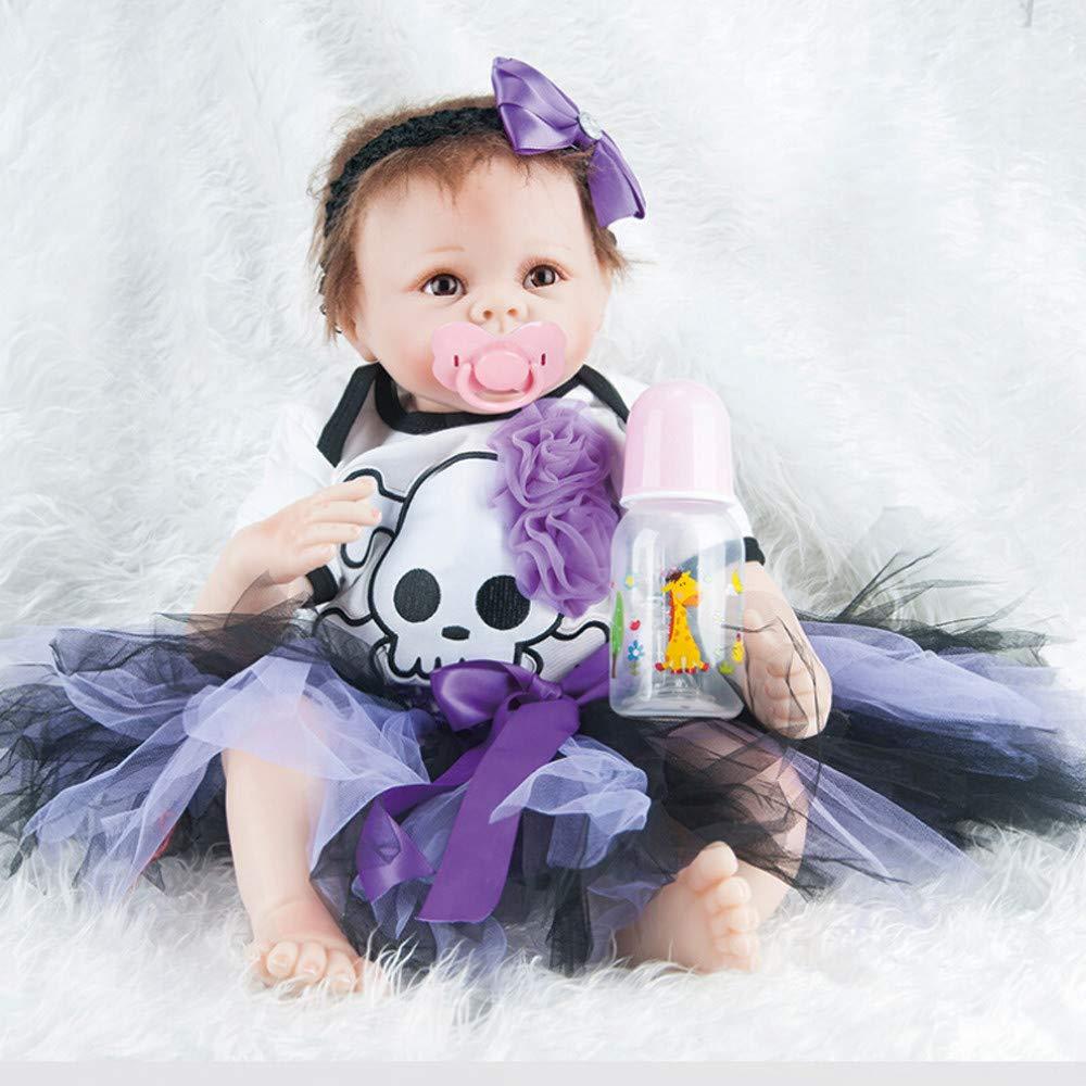 LCLrute Lebensechtes Lebensechtes Lebensechtes Reborn Baby Doll Neugeborene Puppe Kinder Mädchen Playmate 55 cm Weiche Silikon Reborn Puppen Baby Realistische Puppe Reborn 22 Zoll (C) 135612