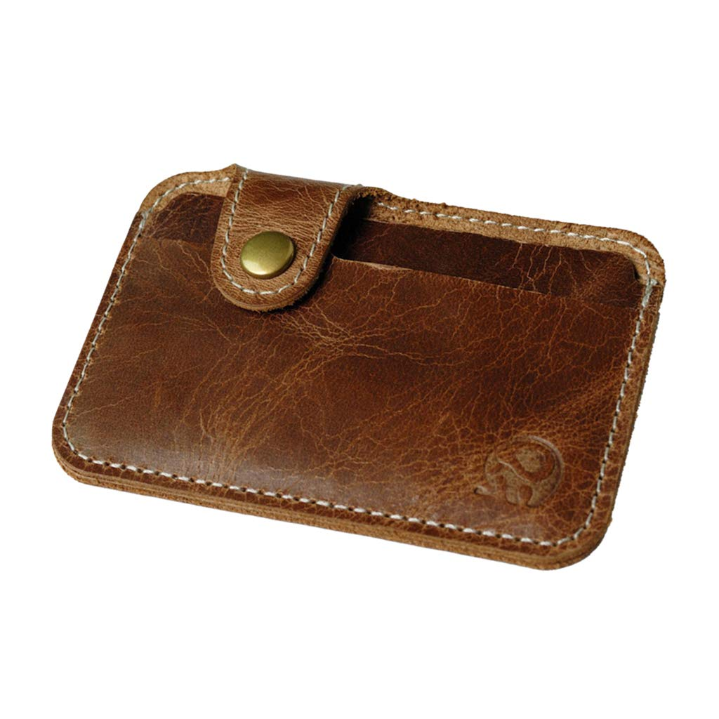 D DOLITY Men's Brown Leather Minimalist Card Holder Slim Front Pocket Wallet-2 Slots
