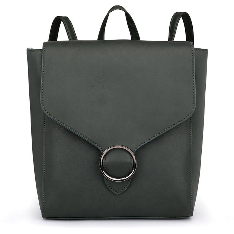 Women Vintage Tote Pure Color Leather Zipper Shoulder Bag School Backpack Student