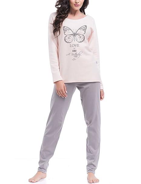Dn-Nightwear PM.8041 Pijama De Manga Larga/Pantalón Largo, rosa claro