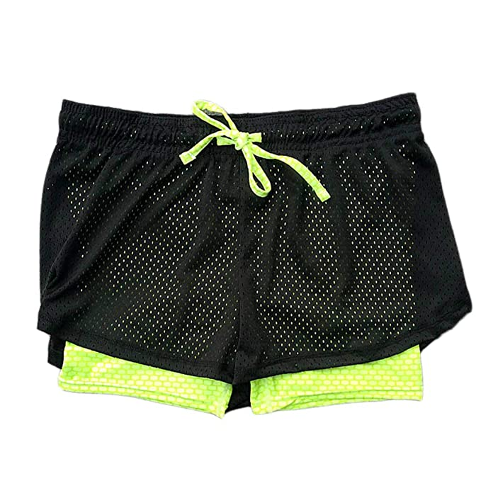 super popular 7359c e8835 Pantalón Corto de Running Deportivo 2 en 1 para Mujer Pantalón Corto de  Malla Transpirable de Secado rápido para Correr Pantalones Cortos de 3 ...
