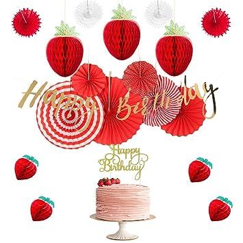 Set de Decoración de Cumpleaños Fresas de Papel Accesorios ...