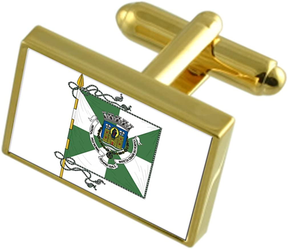Porto City Portugal Gold-tone Flag Cufflinks Engraved Box