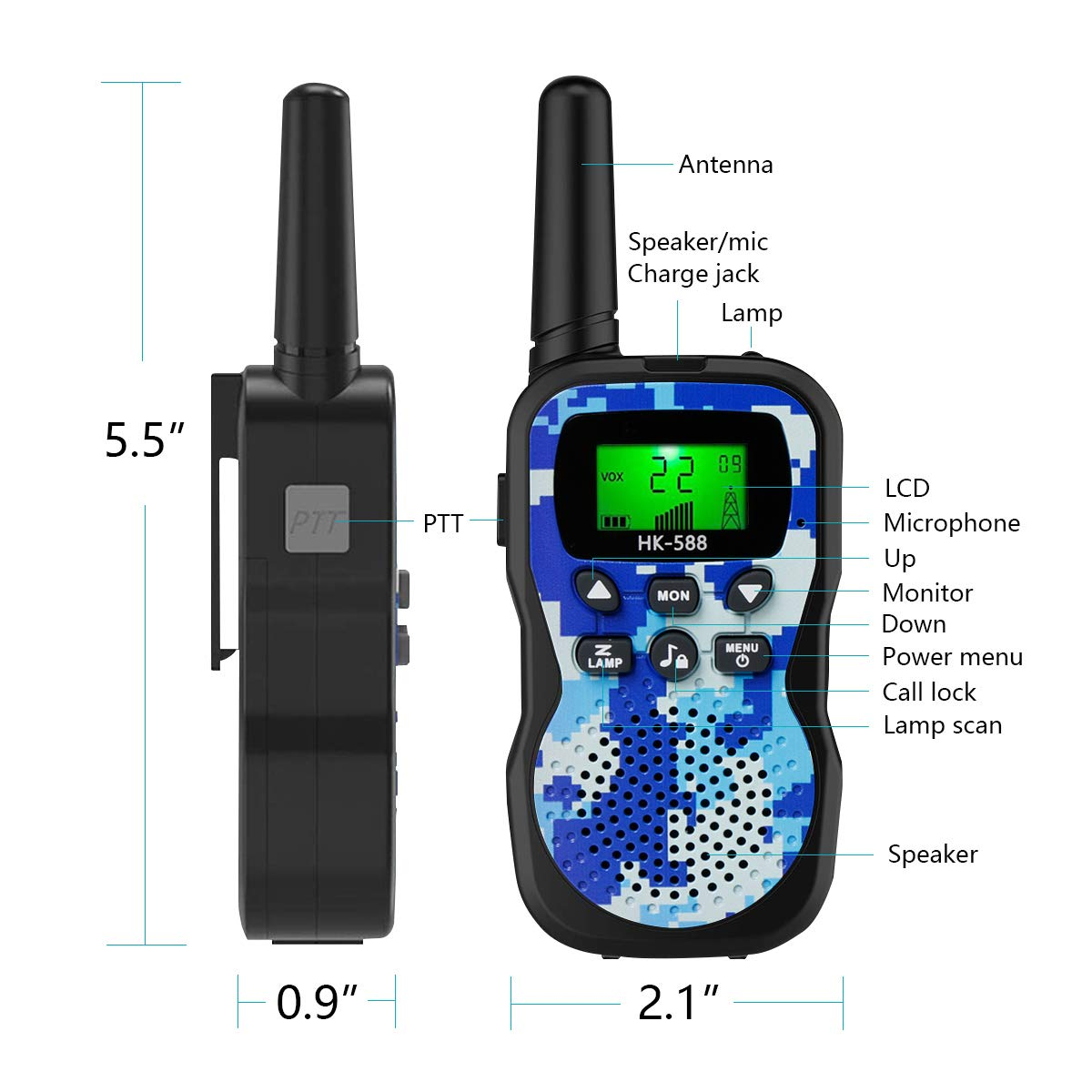 Walkie Talkies For Kids , Range Up to 3 Miles With Backlit LCD Display And Flashlight Walkie Talkies For Boys Girls Outdoor Toys For 3-12 Year Old Boys Girls Bset Gifts For 3-12 Year Old Boys Girls by Sun-Team (Image #2)