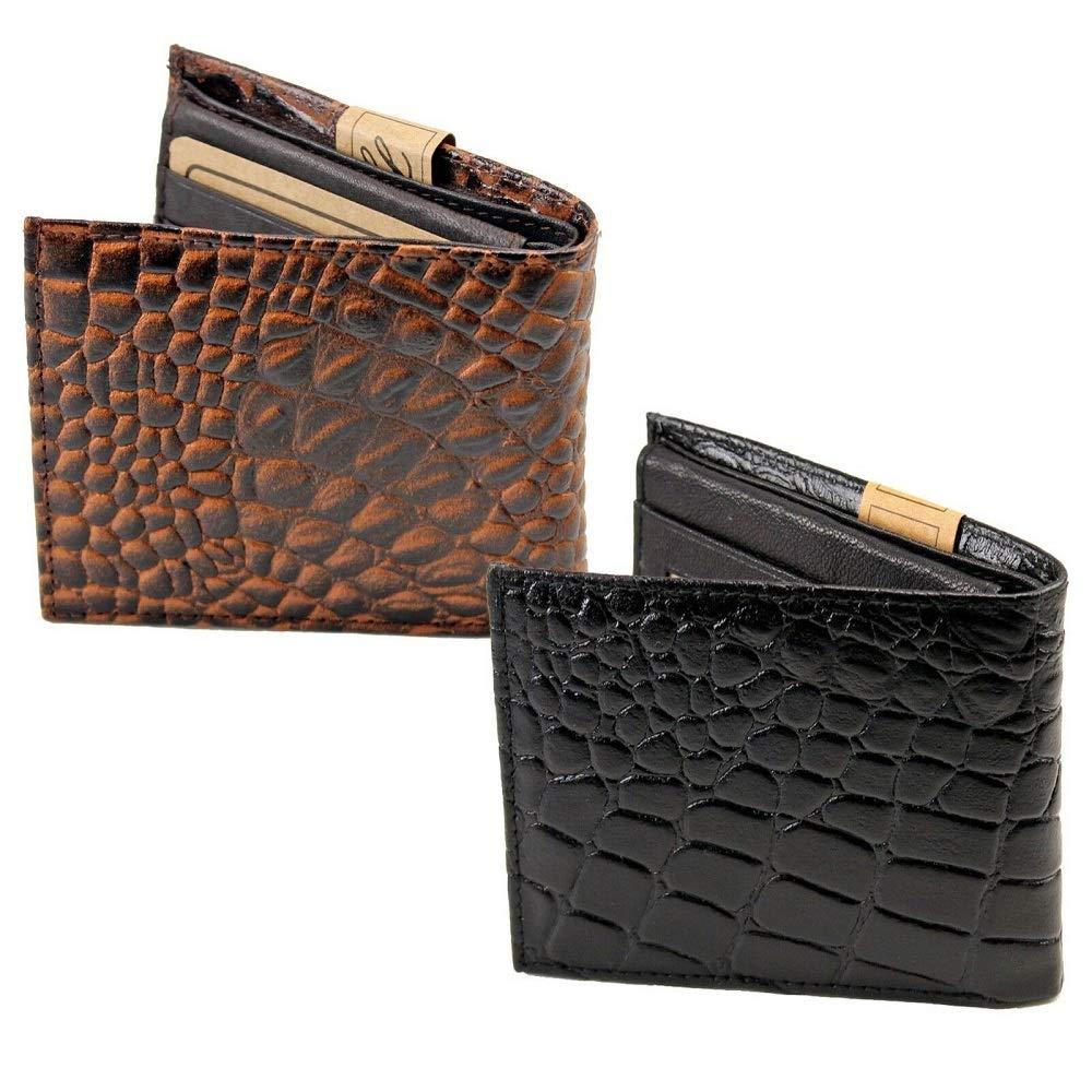 Top Mens Genuine Leather Bifold Wallet Embossed Croc Print Cowboy Western Theme #LWTY