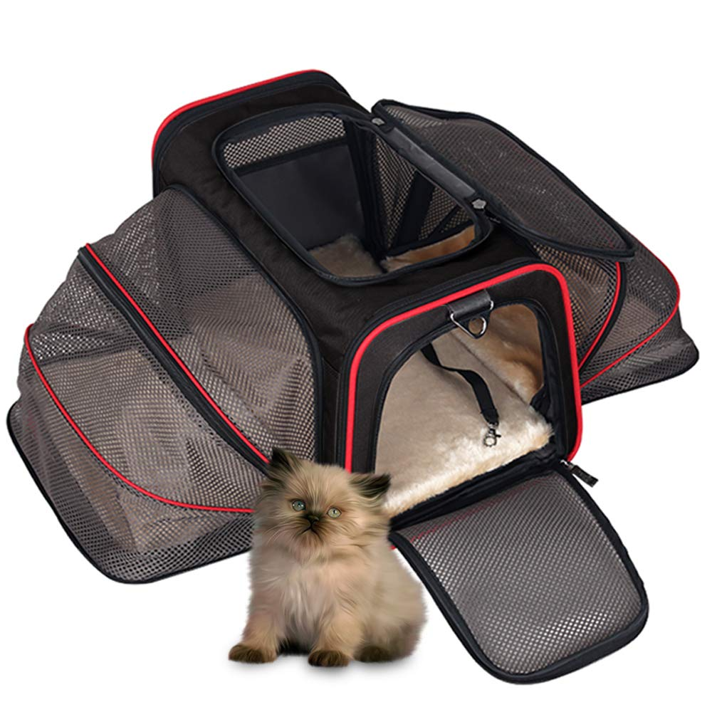 Cat Travel Carrier Bag, Hand Bag Carrier for Small Dogs Large Cat Puppy Kitten, Airline Approved Pet Purse Carrier, Large Expandable under Seat Cat Dog Carrying Bag with Side Pocket for Subway Car Bus DZMWEK