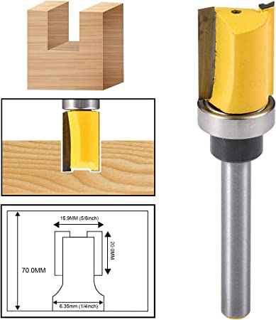 8mm Shank Router Bit Flush w//Bearing For Wood Template Drill Milling Cutter Tool