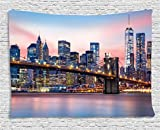 new york bedroom - New York Tapestry Decor by Ambesonne, Brooklyn Bridge and Lower Manhattan Skyline under Pink Sunrise Long Exposure Art Image, Wall Hanging for Bedroom Living Room Dorm, 80 W X 60 L Inches, Blue
