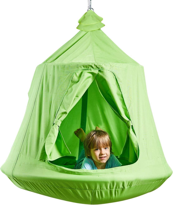 Kids Outdoor Waterproof Play Tent Hanging Hammock with Lights String (Green)