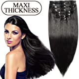 Extension a Clip Cheveux Naturel 100% Human Hair Full Head Double Weft