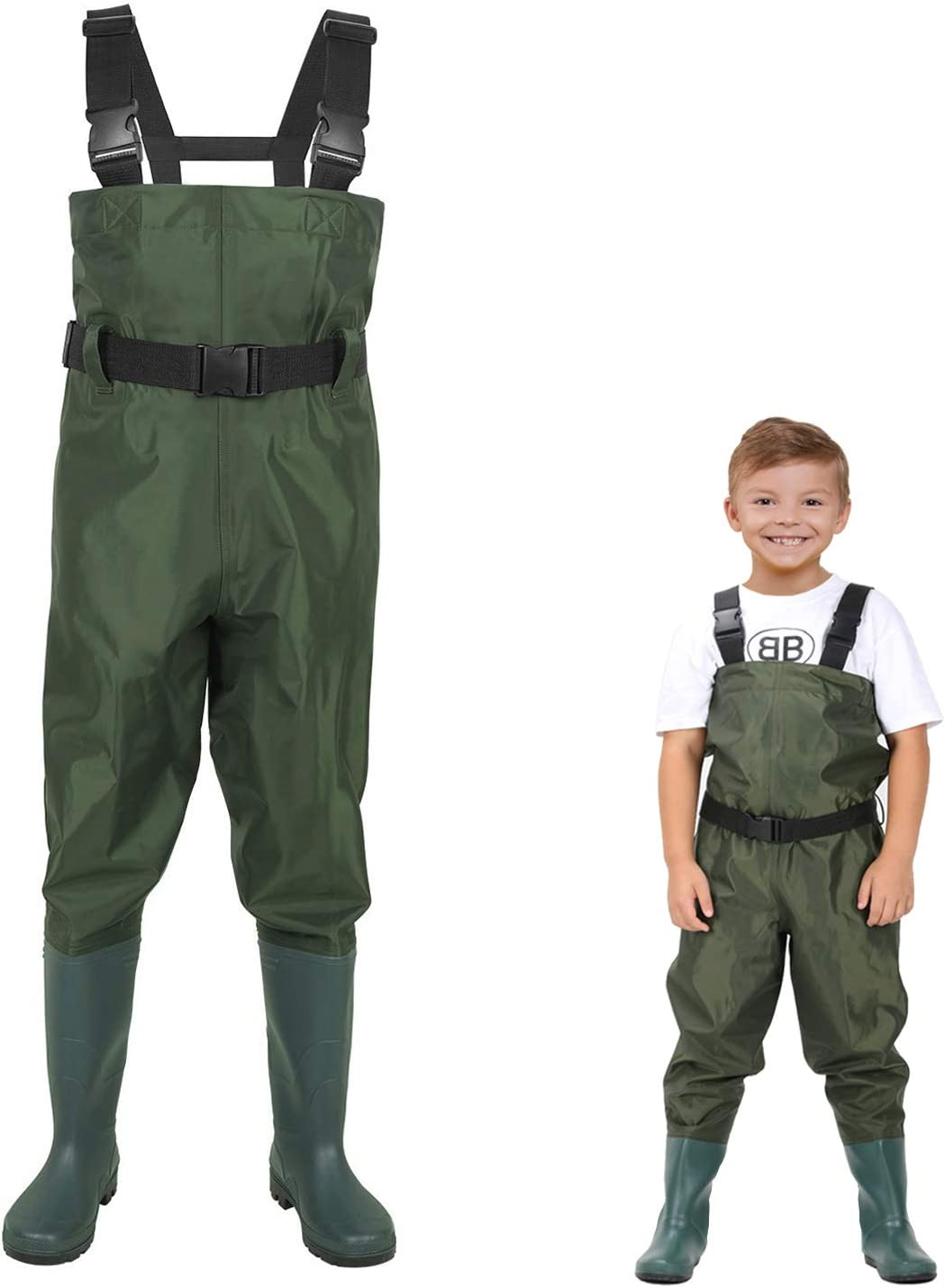 LANGXUN Hip Waders for Kids, Lightweight and Breathable PVC Fishing Waders for Children, Waterproof Bootfoot Waders for Boy and Girl, Army Green Chest Waders for Women : Sports & Outdoors