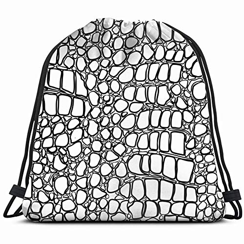 (Black White Crocodile Abstract Drawstring Backpack Bag Gym Dance Bags Gift for Girls Daughter Boy Birthday Gift for Kids Teen 14.2 x 16.9 Inch)
