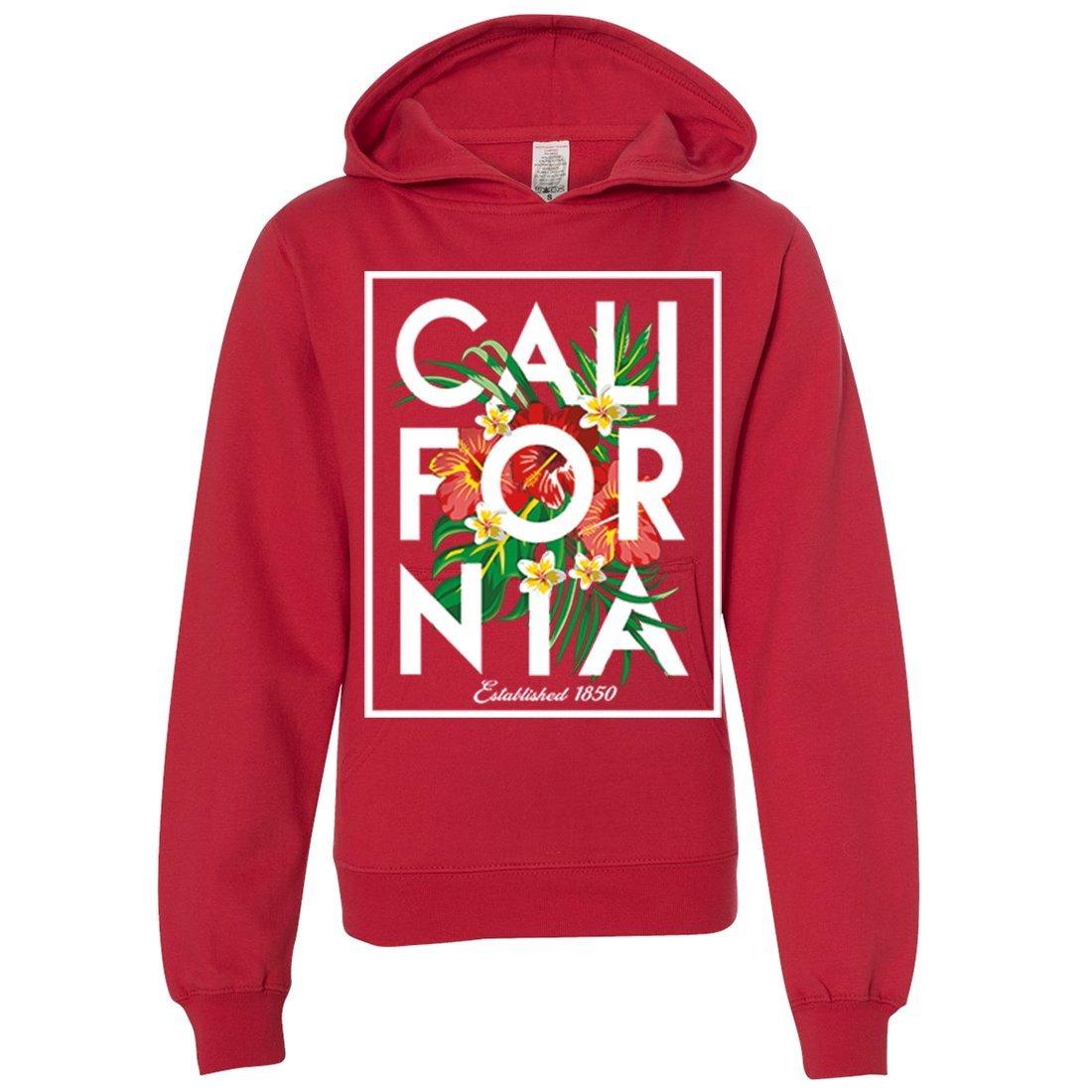 Cali Tropical Flowers White Print Premium Youth Sweatshirt Hoodie