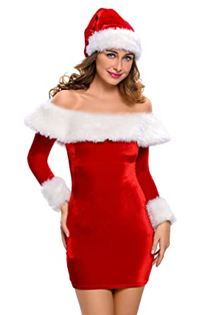fd1818d9f Amazon.com  Women Mrs. Claus Costume 3 Piece Santa Costume Sexy Christmas  Dress with Furry Leg Warmers  Clothing
