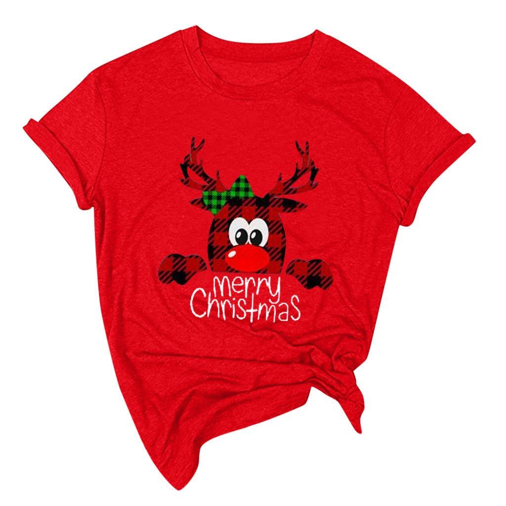 Feliz Camiseta de Navidad Camiseta Navidad de Moda para Mujer SUNNSEAN Camiseta de A/ño Nuevo Camiseta Gr/áfica Linda Dibujos Camisas Tops de Navidad Camisetas Casual para Mujer