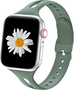 YAXIN Compatible with Apple Watch Bands 38mm 40mm 42mm 44mm, iWatch Bands Women Men Slim Thin Narrow Silicone Sport Bands Replacement Wristbands for Apple Watch SE, Series 6 5 4 3 2 1, Pine Green