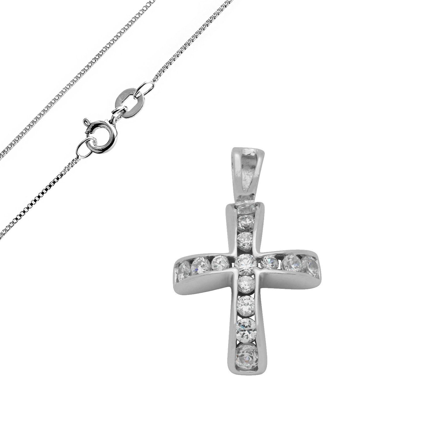 Cross with round Clear CZ Accent JewelryVolt 925 Sterling Silver CZ Pendant